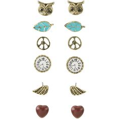 Peace and Owl Stud Earring Set (44 BRL) ❤ liked on Polyvore featuring jewelry, earrings, accessories, fillers, brincos, leaves earrings, peace sign jewelry, owl earrings, heart jewelry and leaf earrings