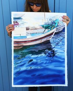 Julia Barminova  WATERCOLOR (@juliabarminova) в Instagram #aquarela #watercolor #underwater #submerge #art #paint #painting #draw #drawing #light #girls #wave #sea #boat #ship