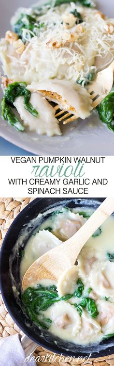 A home made Pumpkin and Walnut Ravioli in a Creamy Garlic Sauce with Spinach…