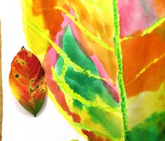 smART Class-I'm going to try this with my leaf rubbing set...like the watercolor detail really makes the leaf pop!