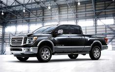 Descargar fondos de pantalla Nissan TITAN, 2017, recogida, negro SUV, autos nuevos, Camiones Nissan