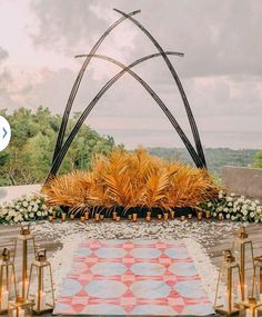 BOHEMIAN ceremony arch gold black and white