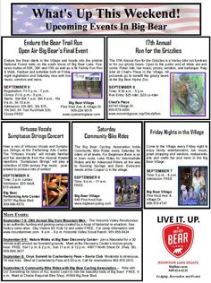 What's Up in Big Bear this Weekend