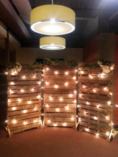 photo backdrop with Edison lights
