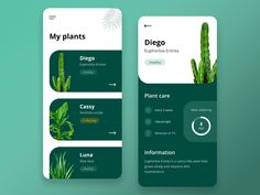 Plant care app designed by Nicolas Manteaufroy. Connect with them on Dribbble; the global community for designers and creative professionals. Mobile Web Design, App Ui Design, Interface Design, User Interface, Layout Design, Design Web, Web Layout, Graphic Design, Ui Design Inspiration