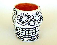 Sugar Skull Planter Ceramic Candle Holder Black and White Gold Day of the Dead Folk Art Dia de los Muertos