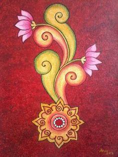 Zafaran Art Gallery: The Jewel In The Lotus. Saree Painting, Kalamkari Painting, Kerala Mural Painting, Indian Art Paintings, Madhubani Painting, Fabric Painting, Fabric Paint Designs, Madhubani Art, Mural Art