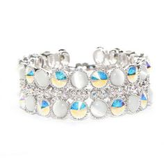 Crystal AB Cats-Eye Wedding Bracelet -Antique rhodium plated bracelet set with the perfect combination of Swarovski Elements Crystal AB & White Opal Cats-Eye crystals
