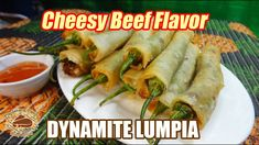 This is a spicy kind of lumpia made with green chili peppers stuffed with ground meat with cheese and wrapped with lumpia or springroll wrapper. Filipino Recipes, Spicy Recipes, Asian Recipes, Cooking Recipes, Ethnic Recipes, Dynamite Recipe, Lumpia, Pinoy Food, Meat And Cheese