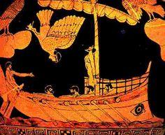 Odysseus vaart met zijn schip langs de sirenen. Het epos gaat voor een belangrijk deel over de zwerftocht van de held Odysseus na afloop van de Trojaanse Oorlog en zijn thuiskomst op het eiland Ithaka.