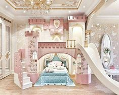 Made to order luxury princess palace double stairs castle bunk Kids Bedroom Designs, Room Design Bedroom, Room Ideas Bedroom, Home Room Design, Kids Room Design, Bed For Girls Room, Bedroom Decor For Teen Girls, Little Girl Rooms, Baby Room Decor