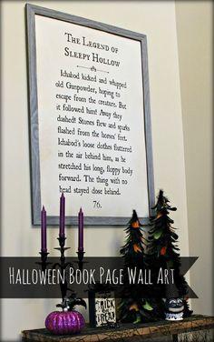 """Sleepy Hollow"" Book Page Wall Art"