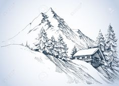 Winter Landscape In The Mountains. A Cabin In The Snow And Beautiful. Royalty Free Cliparts, Vectors, And Stock Illustration. Image Vector - Winter landscape in the mountains. A cabin in the snow and beautiful nature surroundings Pencil Drawing Images, Landscape Pencil Drawings, Landscape Sketch, Landscape Tattoo, Landscape Art, Pencil Drawings Of Nature, Mountain Sketch, Mountain Drawing, Nature Sketch
