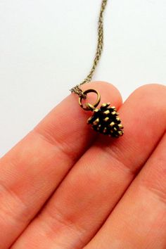 Tiny Pinecone Necklace. Brass Pinecone Necklace. by hendersweet