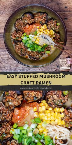 Mushrooms are a classic ramen topping, so why not take it to the next level and fill 'em up? These stuffed mushrooms are great as an appetizer or added to a bowl of Mike's Mighty Good ramen for added savory flavor. Ramen Toppings, Mushroom Crafts, Panko Bread Crumbs, Recipe Notes, Latest Recipe, Kimchi, Food Print, Fill, Stuffed Mushrooms
