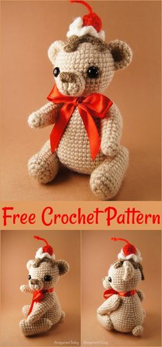 Free Crochet Bear Patterns,Cake Bear Amigurumi Pattern-I have rounded up a huge list of free crochet teddy bear patterns for you to get inspired by these cute and soft teddy bears. You could absolutely make them with your own crochet hooks. Animal Knitting Patterns, Crochet Dolls Free Patterns, Stuffed Animal Patterns, Amigurumi Patterns, Stuffed Animals, Crochet Teddy Bear Pattern, Crochet Bunny, Free Crochet, Crochet Hooks