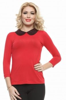 Bluza tricot uni cu maneci 3/4 si guler lurexat. Pink Lady, Uni, Costume, Long Sleeve, Sleeves, Tops, Women, Fashion, Tricot