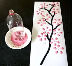 Cherry Blossom bottle prints from Early Childhood Educators Rock…