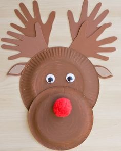 Paper Plate Rudolph Craft #ArtsAndCrafts #KidsCrafts #Crafts #DIY #Reindeer #Christmas #PaperPlates #Animals