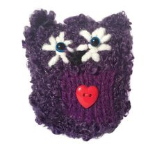 Purple knitted owl soft toy animal knit toy by TheWoollyOwlhouse