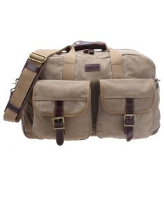 Heavy Duty Canvas Travel Duffel Leather Overnight Bag Weekender Tote D-001  - Khaki - C612IS3L1UF 95ab744d09815