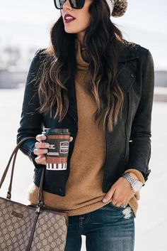 #winter #outfits women's black leather full-zip jacket. Click To Shop This Look.