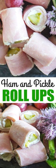 Ham Roll Ups are made with pickles and cream cheese, and they are all the rage at Midwest parties. Slice them up OR be a hero and just leave them whole. Also, vegie wraps, and other appetizers. Roll Ups Recipes, Keto Recipes, Cooking Recipes, Healthy Recipes, Pickle Roll Ups, Ham Roll Ups, Pickle Wraps, Ham And Cheese Roll Ups, Turkey Roll Ups