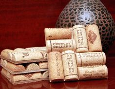Wine Cork Coasters via ELineCreations at etsy.com. (I have so many corks!)
