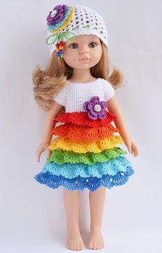 Платье с оборочками для куклы Паоло Рейна.   Мастерская вязаных работ Кузнецовой Юлии