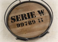 I can see this with name stamped on it. hmmm... Metal and Wood Crate Serving Trays $24 each / 3 for $20 each