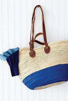 Sweet Paul's Blue Painted Straw Bag