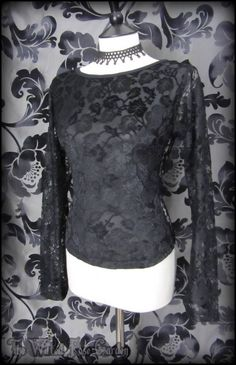 Romantic Goth Black Velvet Devore Rose Lace Top 12 14 Vampire Witchy Alt Gothic | THE WILTED ROSE GARDEN