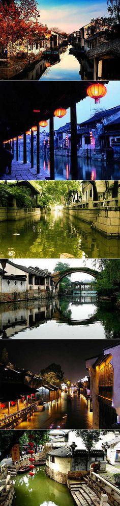 Six Famous Ancient Towns in Southern Yangtze, China: Zhouzhuang, Xitang, Tongli, Nanxun, Wuzheng and Yongzhi.
