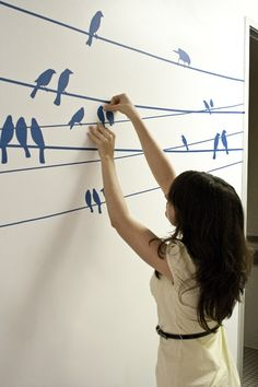 Small birds on a wire wall decal, use wallpaper...etc. easy DIY project. #wall #decal #bird