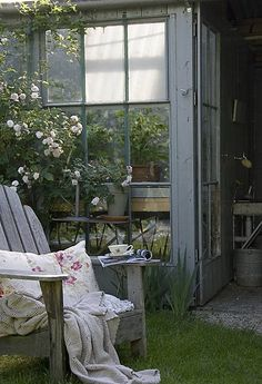 Inspiring Interiors ~ I find such beauty in this image. I can picture someone taking an afternoon break from tending to their greenhouse. Beautiful moments in life.