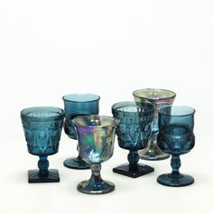 Teal Blue Wine Goblets | Mismatched Bohemian Glassware | Birch & Brass Vintage Rentals | Weddings and Corporate Events | Austin, Texas