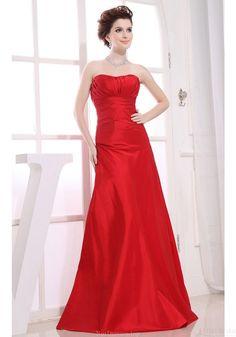 Mermaid Prom Dresses-A-line Strapless Floor-length Red Taffeta Wedding Party Bridesmaid Dresses