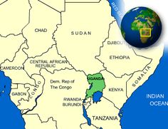 This map shows were Uganda is on the map.