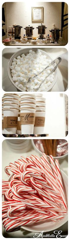 Coffee bar station complete with marshmallows, personalized coffee cups and candy canes - perfect for a winter wedding | AnnaBelle Events