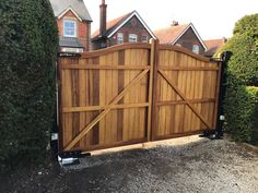 Driveway Entrance, Electric Gates, Hardwood, Shed, Outdoor Structures, Construction, Bar, Traditional, Building