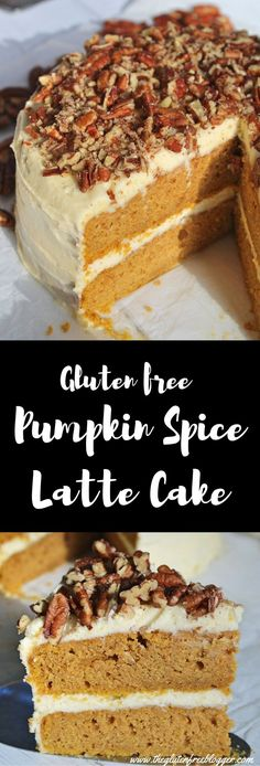 My gluten free pumpkin spice latte cake with maple cream cheese frosting is rich and spicy like my favourite autumn drink. Topped with crunchy pecans. Gluten Free Biscuits, Gluten Free Cakes, Gluten Free Baking, Gluten Free Spice Cake Recipe, Gluten Free Pumpkin Pancakes, Pumpkin Cake Recipes, Pumpkin Spice Cake, Baking Recipes, Dessert Recipes