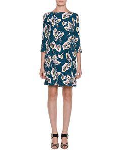 FRESH FLORALS: Floral-Print 3/4-Sleeve Dress