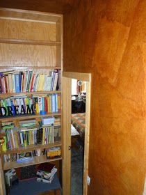 Decorating My Tin Shack: Faux Leather Wall Treatment Faux Leather Walls, Brown Bags, Wall Treatments, Dose, Wall Design, Stenciling Walls, Bookcase, Shelves, Decorating