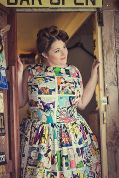 Hey, I found this really awesome Etsy listing at https://www.etsy.com/listing/207980306/1950s-style-cartoon-cotton-dress-uk