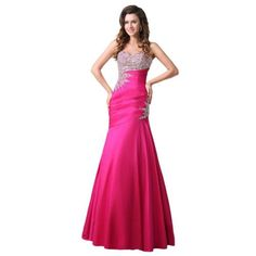 Dearta Womens MermaidTrumpet Sweetheart FloorLength Dress US 6 Fuchsia -- Check out the image by visiting the link.