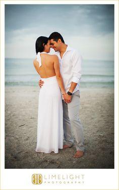 Sand Key Park, white dress, beach photos, engagement session, limelight photography, www.stepintothelimelight.com