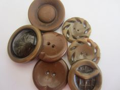 Vintage Buttons - Cottage chic mix of brown, lot of 7, celluloid, and Bakelite, old and sweet( apr 146  ) by pillowtalkswf on Etsy