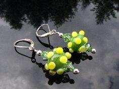 Lampwork Earrings Handmade Glass Beads Handcrafted Wearable Art Jewelry