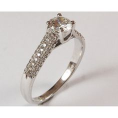 Diamond Engagement, Ring, Pave, White Gold, 3 Row - Certified - DIAMOND RINGS