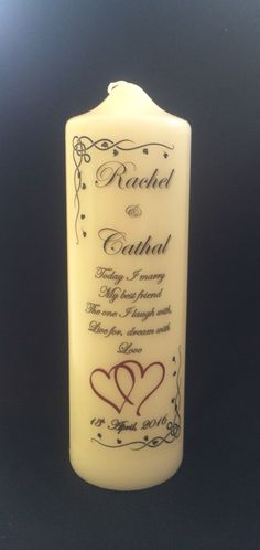 450be547ae275 Large Wedding Candle Personalised. Michael Mccarthy · Personalised Candles  by The Kerry Wedding Store